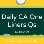 Daily CA One Liners | 14-10-2021